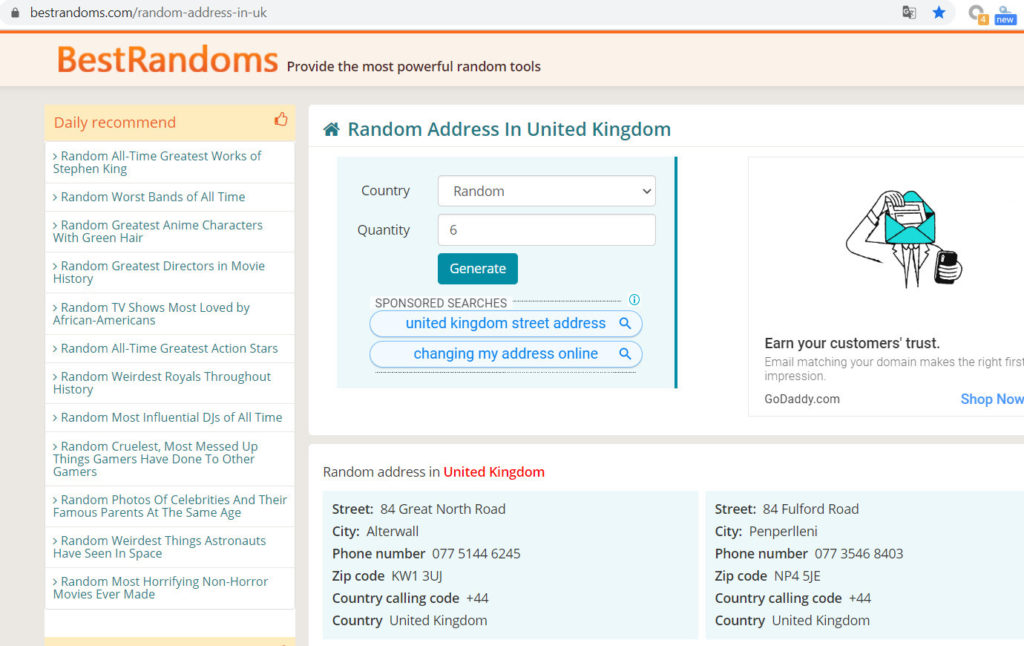 查找英国地区随机地址