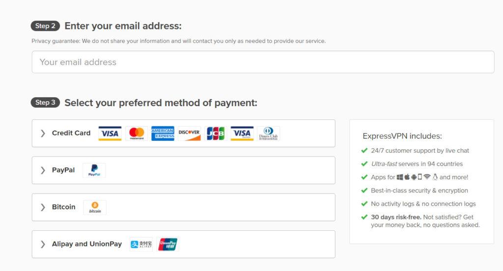 Expressvpn支付方式-可以用支付宝